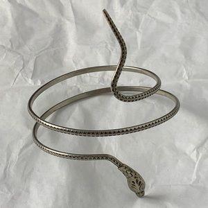 Snake Serpent Coil Bracelet Silver Tone Detailed